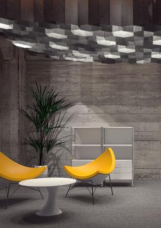 Camera modernamente arredato con sedie gialle contemporanee, un piccolo tavolo bianco, Casa Flora e scaffali, illuminate con moderna Illuminazione a soffitto. Rendering 3D.