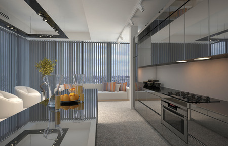a blind: Interior of Modern Apartment Condominium, with View of Kitchen with Center Island and Sitting Room. 3d Rendering.