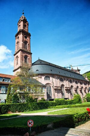 jesuit: Historic Jesuit Church of St Ignatius in Heidelberg, Germany viewed on a sunny clear blue sky day in a travel and tourism concept Stock Photo