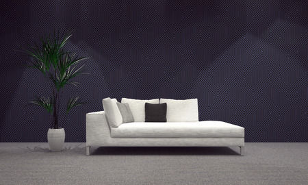 austere: Spacious Modern Architectural Living Area with White Sofa and Plant on Vase, Designed with Abstract Gray Wall. 3d Rendering. Stock Photo