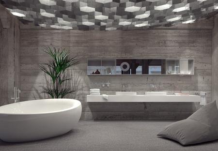 cuarto de baño: Gris interior de baño de lujo moderno con una bañera de pie en forma de barco y lavamanos doble iluminado por una gran variedad de luces hexagonales abajo. Representación 3d. Foto de archivo