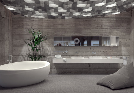 Modern grey luxury bathroom interior with a free-standing boat-shaped bathtub and double vanity lit by an array of hexagonal down lights. 3d Rendering. Stock Photo