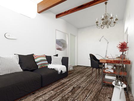 Intérieur architectural de la maison moderne, salon décoré avec Black Sofa, Flotter bureau et Lustre dans la salle avec parquet. Rendu 3D.