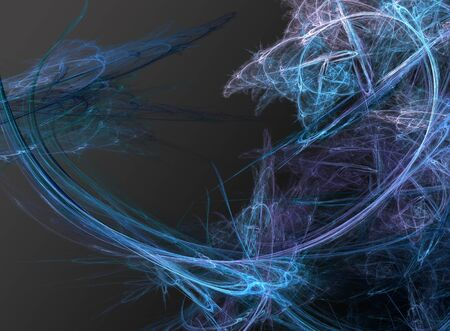 swoop: Blue and Purple Luminous Abstract Fractal Swirls on Dark Background in Conceptual Background Image Stock Photo