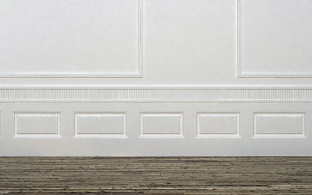 Home Interior of Empty Room with White Wall Decorated with Panelling and Light Colored Hard Wood Floor Stock Photo