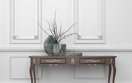 decoracion mesas: Mesa consola de estilo vintage en un clásico salón interior de pie contra una pared de madera con paneles de color blanco con jarrones de cerámica decorativos en la parte superior, fondo arquitectónico con copyspace Foto de archivo