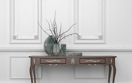 Vintage style console table in a classic living room interior standing against a white wood paneled wall with decorative ceramic vases on top, architectural background with copyspace Banco de Imagens