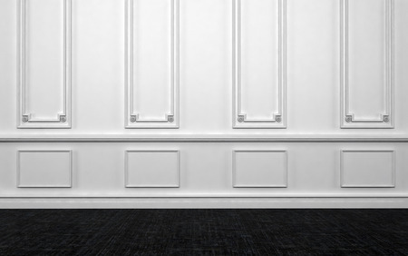Home Interior of Empty Room with White Wall Decorated with Panelling and Dark Hard Wood Floor