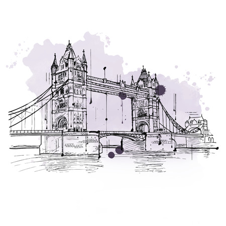 thames: Artistic hand drawn sketch of the Tower Bridge, London crossing the River Thames with its ornate Gothic facade, a popular tourist attraction and iconic British landmark Stock Photo