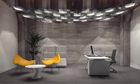 comercial: Interior de la oficina corporativa moderna por un director general con paredes de ladrillo gris, asientos triangular amarilla contempor�nea y un escritorio con computadora iluminado desde arriba por un grupo de luces de abajo hexagonales. Representaci�n 3d.