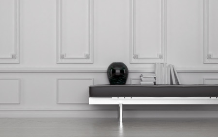 wood molding: Contemporary Black Vase and Stack of Books on Leather Bench in Modern Room with White Floor and Wall with Wainscotting. 3d Rendering.