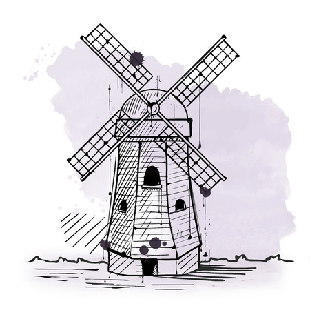 Traditional rustic Dutch windmill with blades to convert the intensity of the wind into rotational energy, hand-drawn sketch with copy space on gray and white