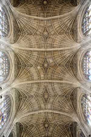 ceiling fan: Low Angle View of Ceiling in Kings College Chapel, the Worlds Largest Fan Vault, University of Cambridge, England