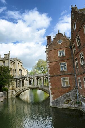 punting: Bridge of Sighs, Cambridge, UK belonging to St. Johns college and crossing the river Cam