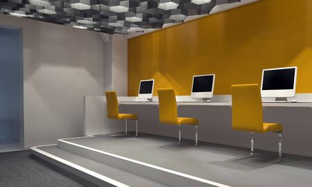 desktop computers: Contemporary internet cafe with a feature yellow wall and a row of computers at a counter on a platform with matching yellow chairs, windowless room lit by down lights. 3d Rendering Stock Photo
