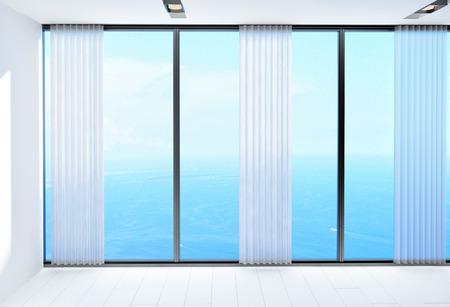ventanas abiertas: Aireado blanca luminosa habitación con una hermosa vista al mar en un día soleado tropical a través de grandes ventanas de vidrio de piso a techo con persianas abiertas. Representación 3d.