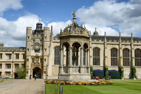 university fountain: Landmarks of the Great Court, Trinity College,Cambridge University, Cambridge, UK, with the ornate central stone fountain, Kings Gate and Chapel