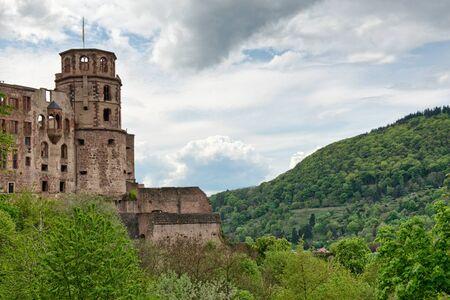 hillsides: Historic Ruins of Heidelberg Castle Nestled in Lush Green Hillsides Overlooking Heidelberg, Baden-Wurttemberg, Germany