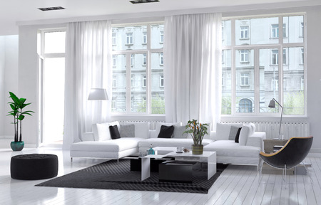 casa de campo: Amplio espacio interior moderno de la sala de estar bien ventilado, con una decoración en blanco y negro con una suite tapizados debajo de grandes ventanales que dan una vista de un bloque de apartamentos. Representación 3d