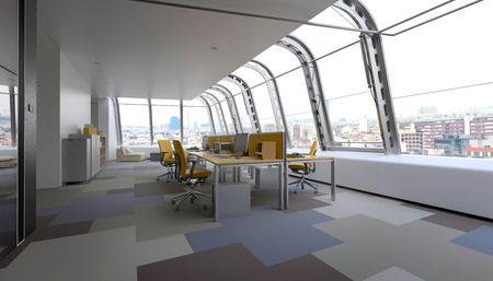 commercial real estate: Modern commercial office with curved glass windows in a wrap around design overlooking the CBD of a city furnished with adjacent workstations along a table in a minimalist interior. 3d Rendering