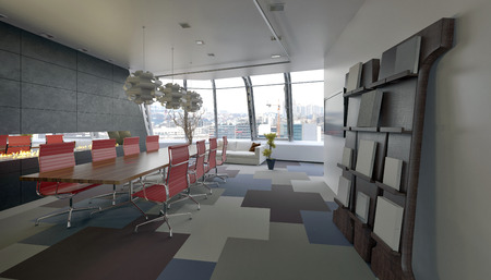Modern conference room in a company office with grey decor and red chairs along the long meeting table and view windows overlooking the city at the far end. 3d Rendering Stock Photo