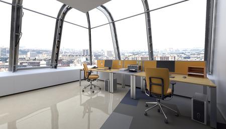 곡선 탁 트인 창문과 직원을위한 워크 스테이션, 코너 관점 사무실 현대 유리 디자인 랩 어라운드. 3D 렌더링 스톡 콘텐츠