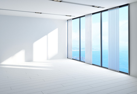 unfurnished: Spacious airy empty white room with large panoramic glass windows overlooking the sea on a sunny day, unfurnished for your design placement. 3d Rendering