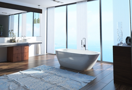 ocean floor: Modern waterfront bathroom interior decor with a freestanding boat-shaped bathtub on a wooden parquet floor in front of floor-to-ceiling windows overlooking the ocean. 3d Rendering