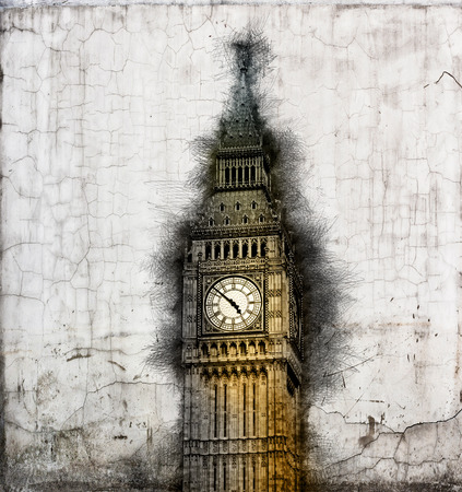 vintage document: Aged grunge document with worn battered edges depicting Big Ben clock tower , London, UK in a vintage style image in a travel and tourism concept Stock Photo