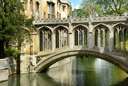 Elegant architecture of the historical Bridge of Sighs arching over the River Cam in Cambridge belonging to St Johns