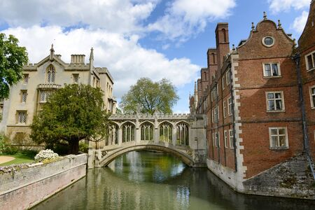 Bridge of Sighs, Cambridge, UK belonging to St. Johns college and crossing the river Cam