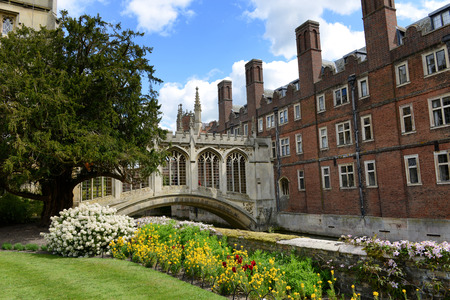 Springtime view of the Bridge Of Sighs, Cambridge, UK in St Johns college built in the nineteenth century to span the River Cam between the historical campus buildings