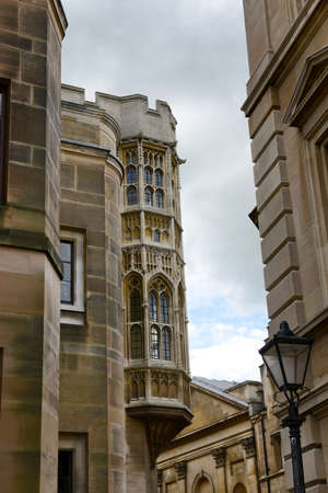 architectural studies: Low Angle View of Historic Architecture of Buildings at Trinity College Campus, University of Cambridge, England