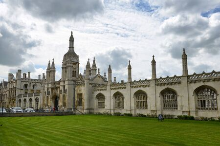 Facade of Historical Kings College Chapel Designed in Perpendicular Gothic English Architecture Under Cloudy Sky, University of Cambridge, England