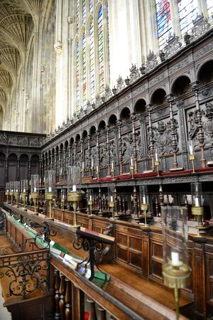 elites: Detail of Ornate and Intricately Carved Choir Area of Interior of Kings College Chapel, University of Cambridge, England