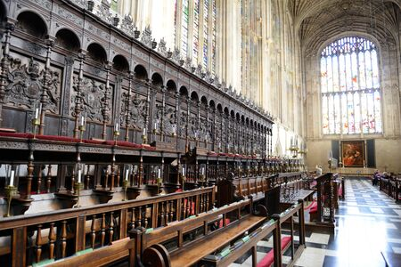 worship service: Detail of Ornate and Intricately Carved Choir Area of Interior of Kings College Chapel, University of Cambridge, England