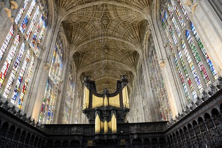 elites: Interior of Kings College Chapel Looking Up at Worlds Largest Fan Vault Ceiling with View of Organ in Foreground, University of Cambridge, England