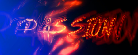 desire: Panoramic View of Red Neon Passion Sign, Concept Image with Flames Illustrating Desire