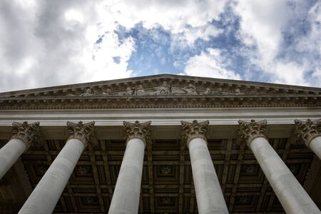 tableau: Low Angle View of Columns and Tableau of Fitzwilliam Art and Antiquities Museum, Cambridge University, England