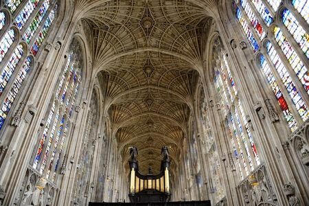 ceiling fan: Interior of Kings College Chapel Looking Up at Worlds Largest Fan Vault Ceiling with View of Organ in Foreground, University of Cambridge, England