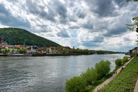 philosophers: Overview of Philosophers Walk and View of Old Town on Opposite Side of Neckar River, Baden-Wurttemberg, Germany Stock Photo
