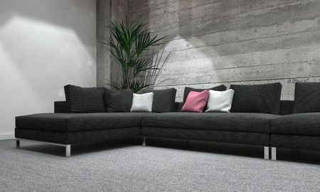 interior lighting: Comfortable Sectional Sofa in Modern Room with House Plant and Colorful Cushions, Interior of Grey Room with Rustic Wooden Wall and Modern Lighting. 3d Rendering