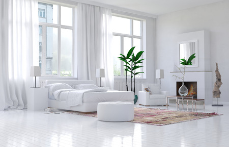 Contemporary spacious white bedroom interior with monochromatic decor and comfortable bed and armchairs below large bright sunny view windows. 3d Rendering. Banque d'images