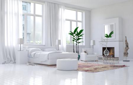 Zeitgenössische geräumigen weißen Schlafzimmer Interieur mit monochromen Dekor und bequemes Bett und Sessel unter großen sonnigen Fenster Aussicht. 3D-Rendering.