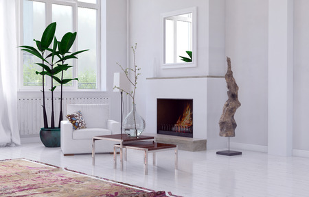 decors: Cozy minimalist white living room interior with fireplace, overmantel mirror and single armchair and potted plant below a window. 3d Rendering.