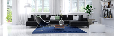 living room design: Panoramic horizontal banner of a modern living room interior with white wall and floor, large bright windows, and a comfortable charcoal grey lounge suite around a blue rug. 3d Rendering.