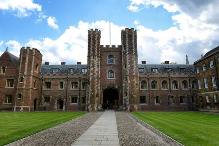 punting: Tower of Second Court, an Example of Tudor Architecture, Leading to Third Court on Campus, St Johns College, University of Cambridge, England