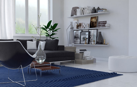 room accents: Cozy lounge interior in a modern house with a corner upholstered suite, blue rug and shelves of mementos in an airy room with large windows, white floor and walls. 3d Rendering.