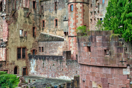 Architectural Detail of Crumbling Stone Walls - Ruins of Heidelberg Castle, a Popular Tourist Attraction in Heidelberg, Baden-Wurttemberg, Germany