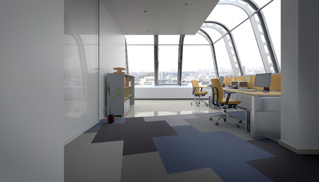 Open Concept Office Space with Row of Computer Desks with Chairs in Urban Penthouse, Rounded Windows Overlooking City. 3d Rendering Stock Photo